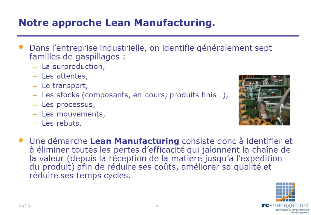 Notre approche Lean Manufacturing.