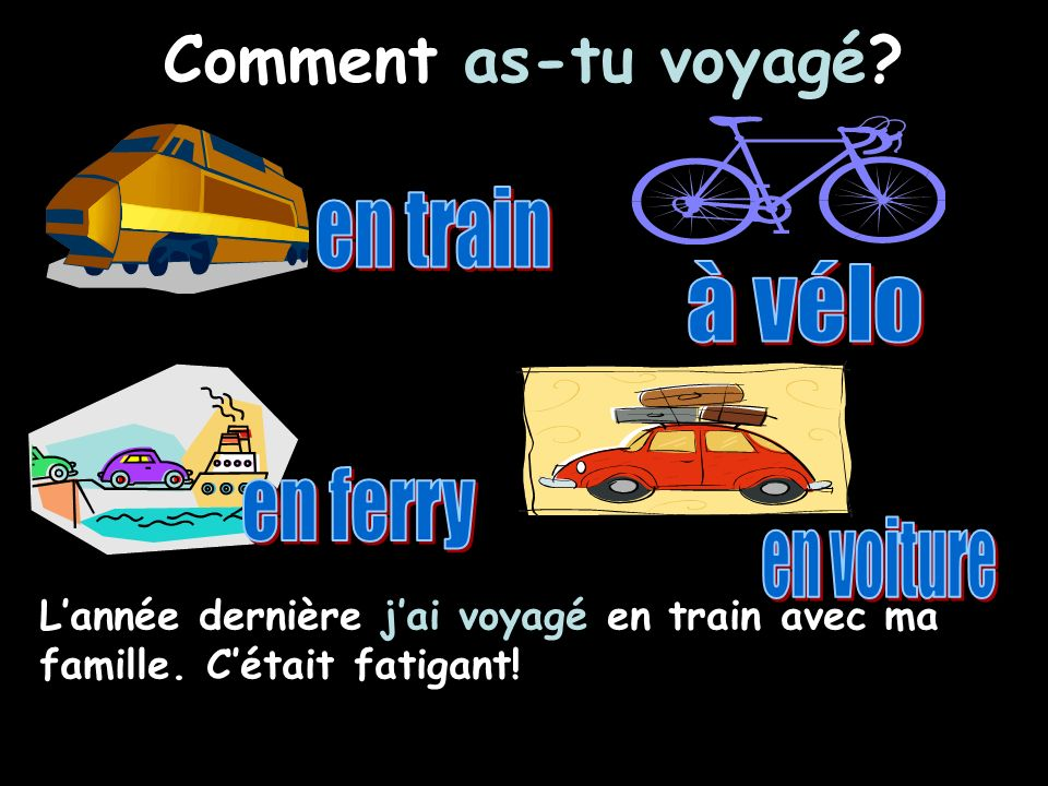 Comment as-tu voyagé en train à vélo en ferry en voiture