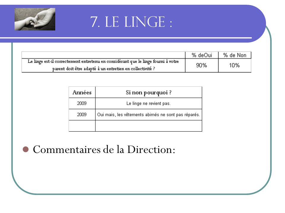 7. LE LINGE : Commentaires de la Direction: