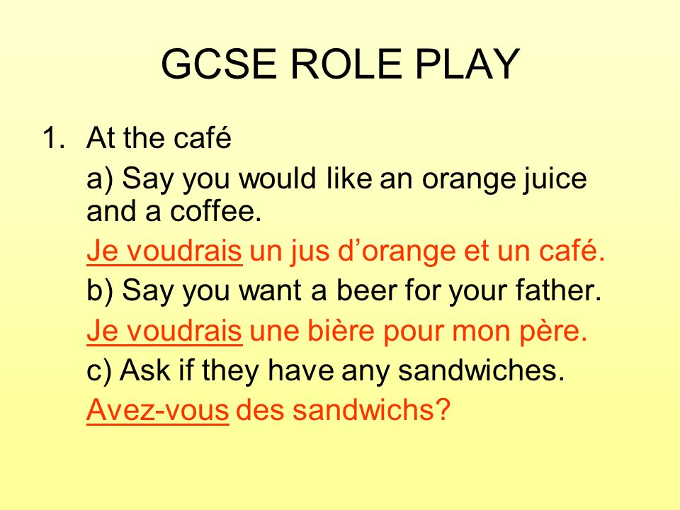 GCSE ROLE PLAY At the café