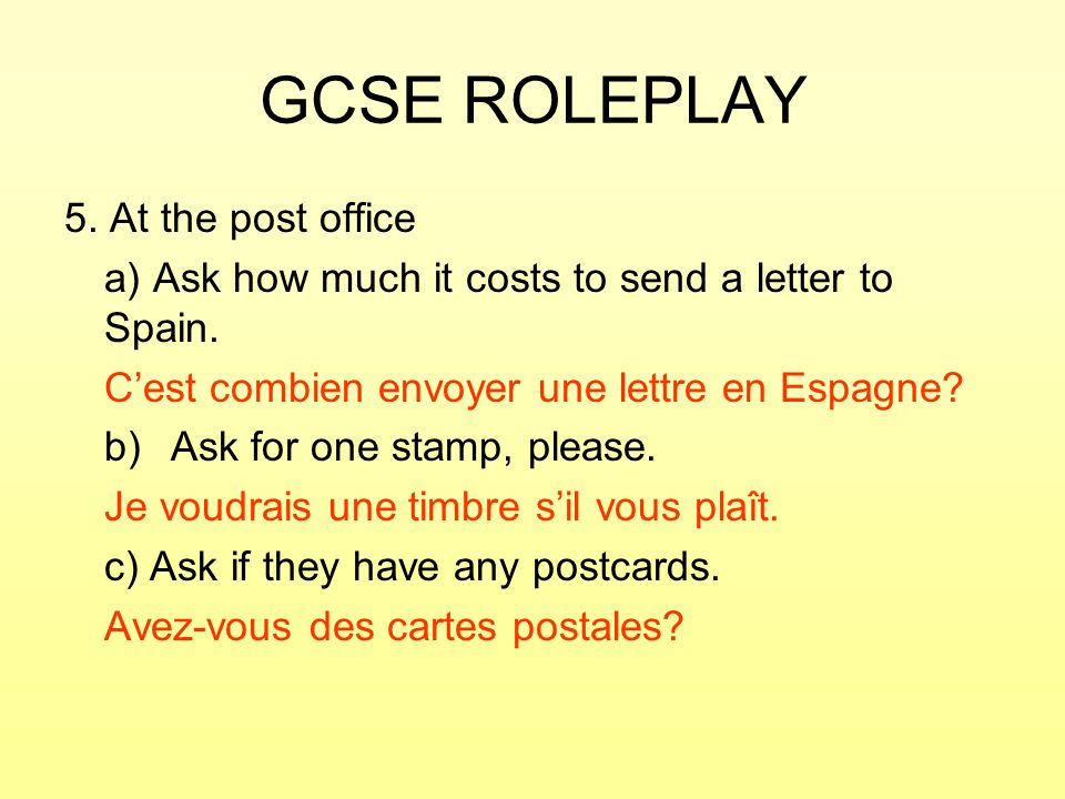 GCSE ROLEPLAY 5. At the post office