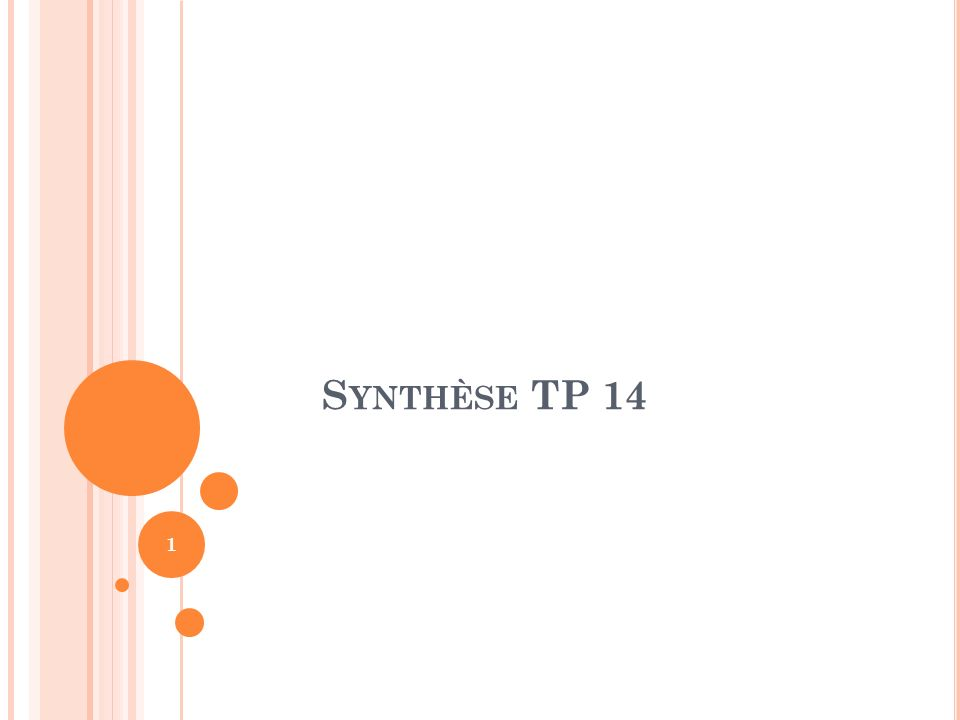 Synthèse TP 14
