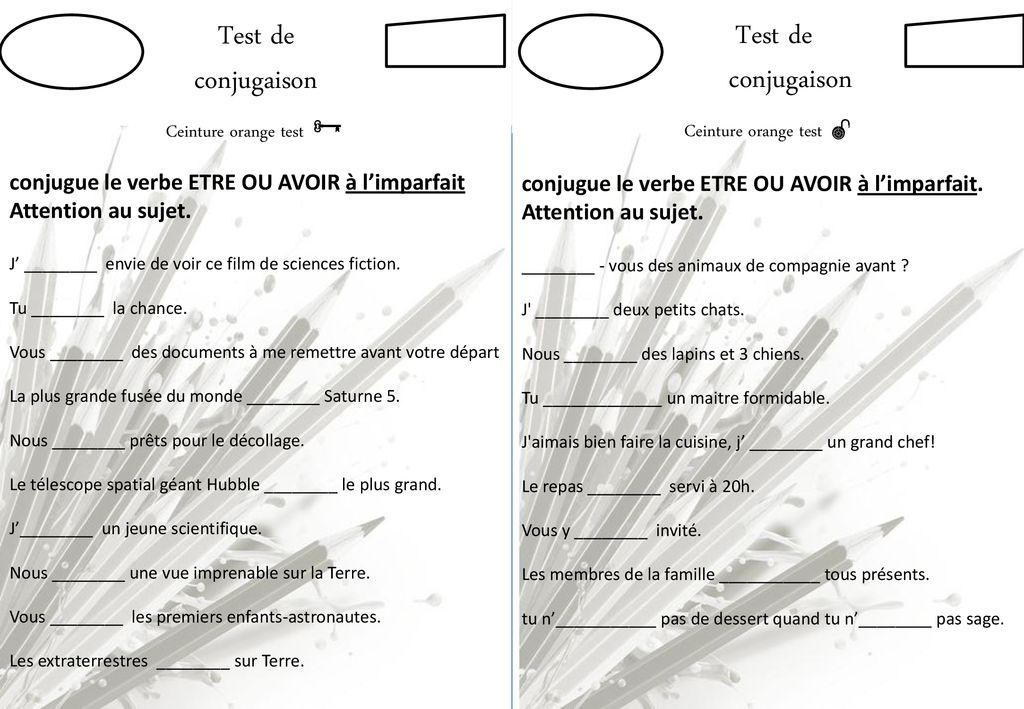 Test De Conjugaison Conjugaison Ceinture Blanche Test Test De Ppt Telecharger