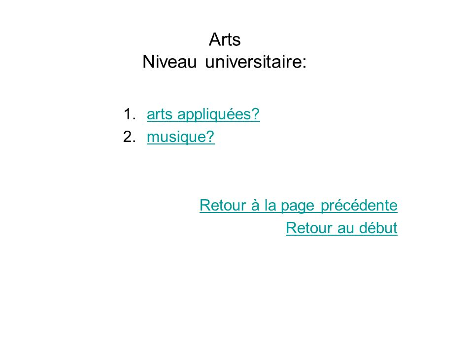 Arts Niveau universitaire: