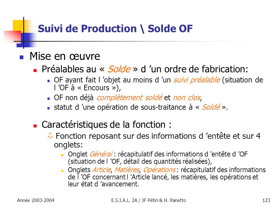 Suivi de Production \ Solde OF