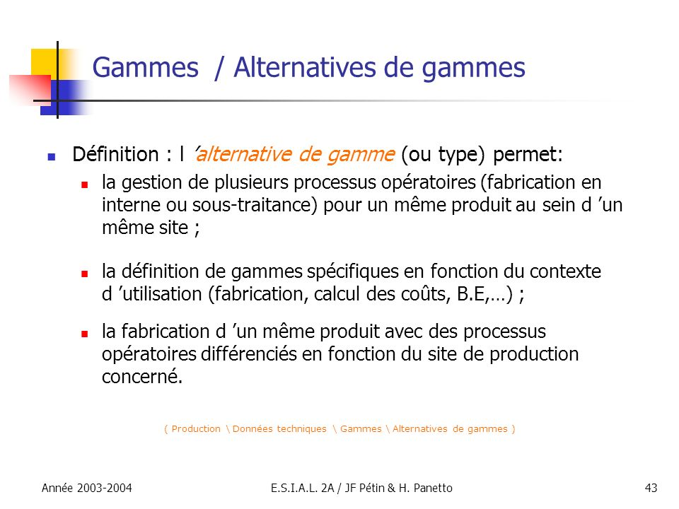 Gammes / Alternatives de gammes