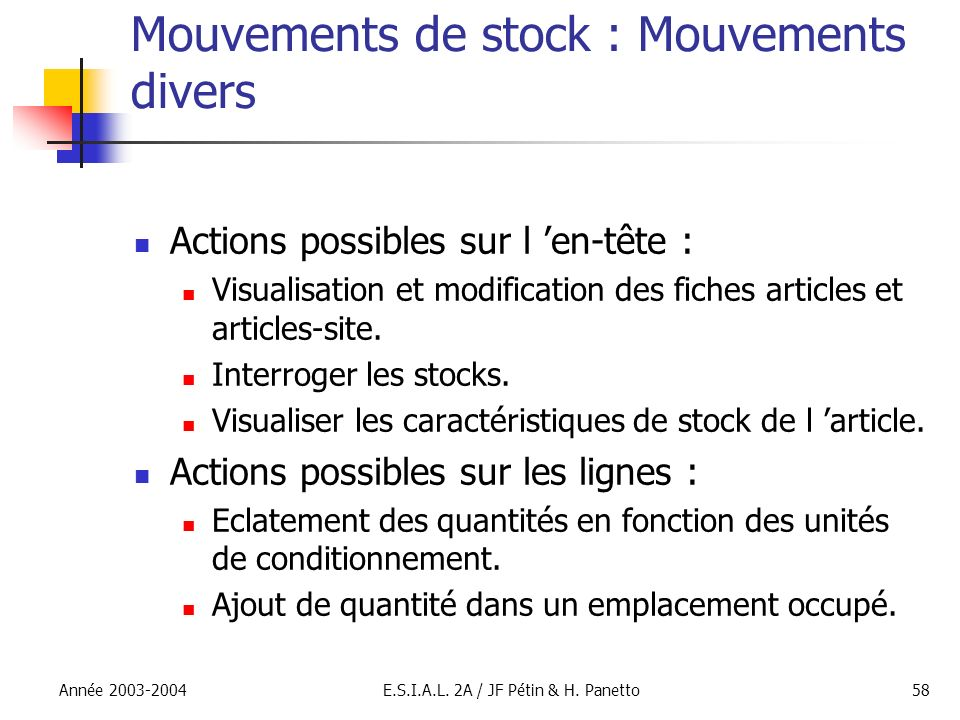 Mouvements de stock : Mouvements divers
