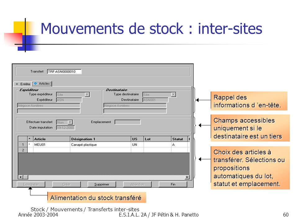 Mouvements de stock : inter-sites