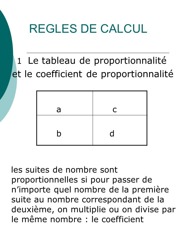 REGLES DE CALCUL et le coefficient de proportionnalité