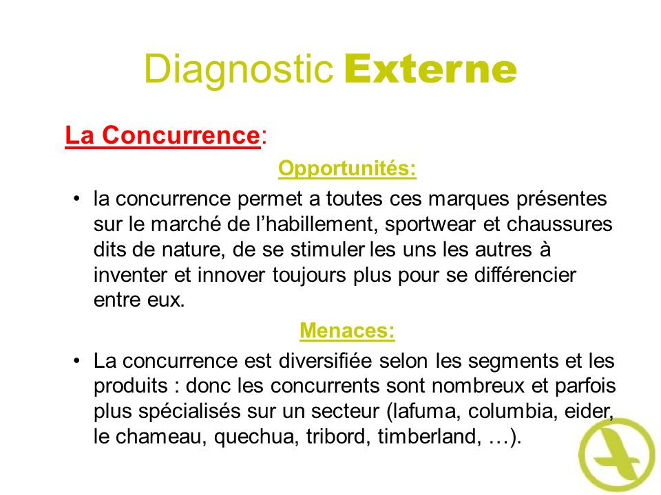 Diagnostic Externe La Concurrence: Opportunités: