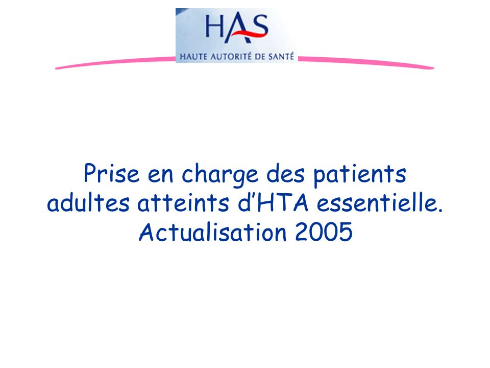 Prise en charge des patients adultes atteints d'HTA essentielle