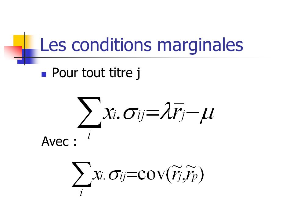 Les conditions marginales
