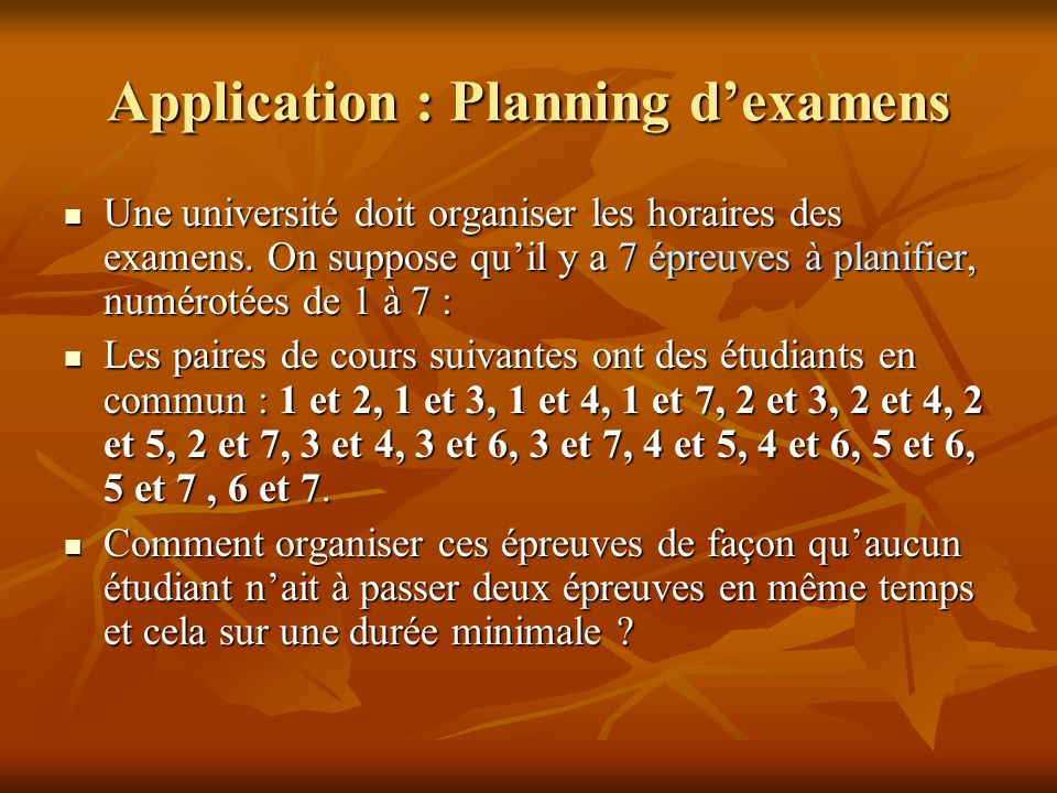 Application : Planning d'examens
