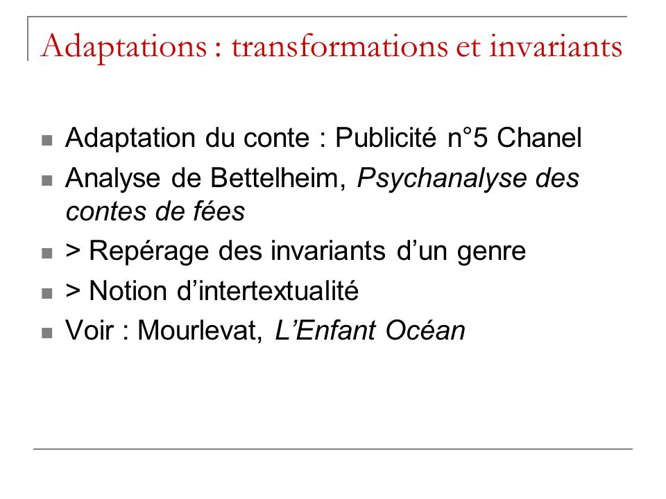 Adaptations : transformations et invariants