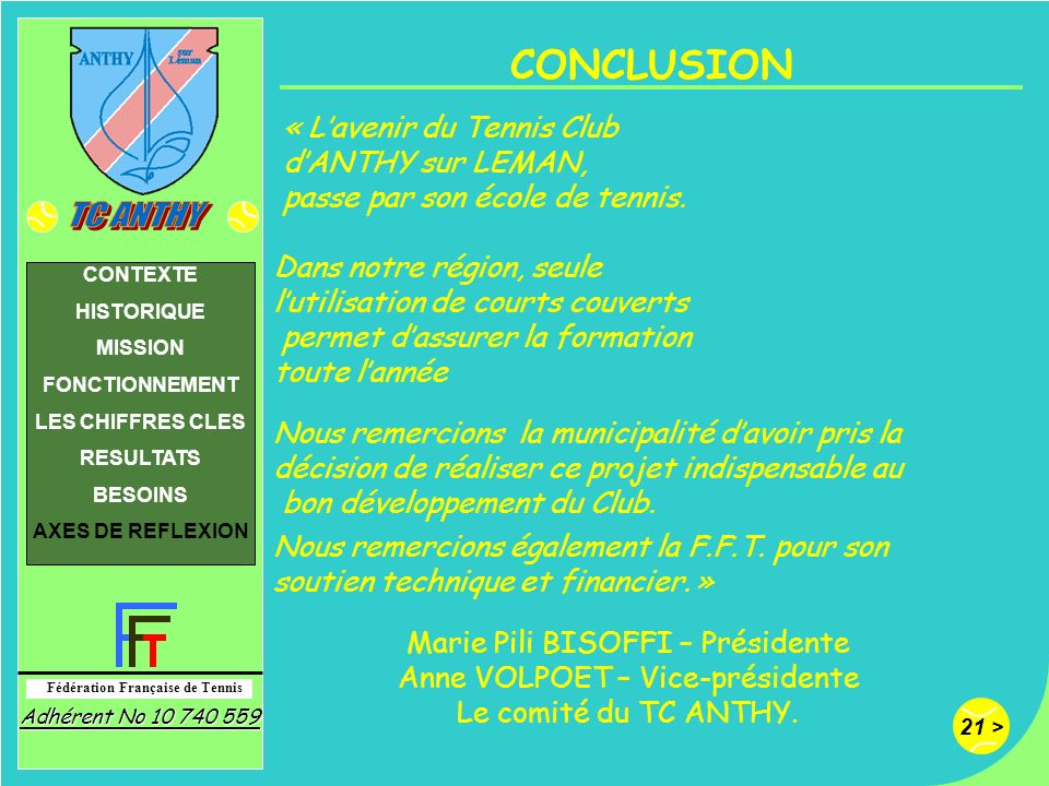 CONCLUSION « L'avenir du Tennis Club d'ANTHY sur LEMAN,