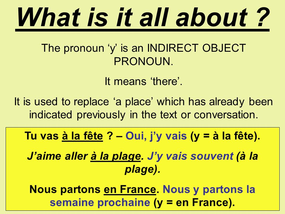What is it all about The pronoun 'y' is an INDIRECT OBJECT PRONOUN.