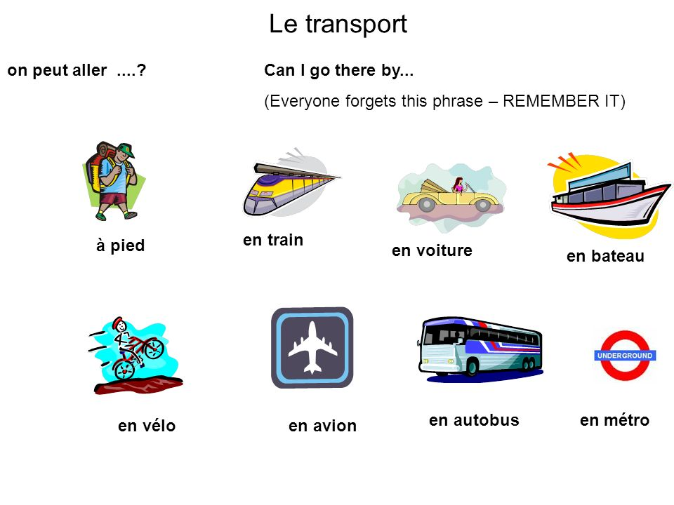 Le transport on peut aller .... Can I go there by...