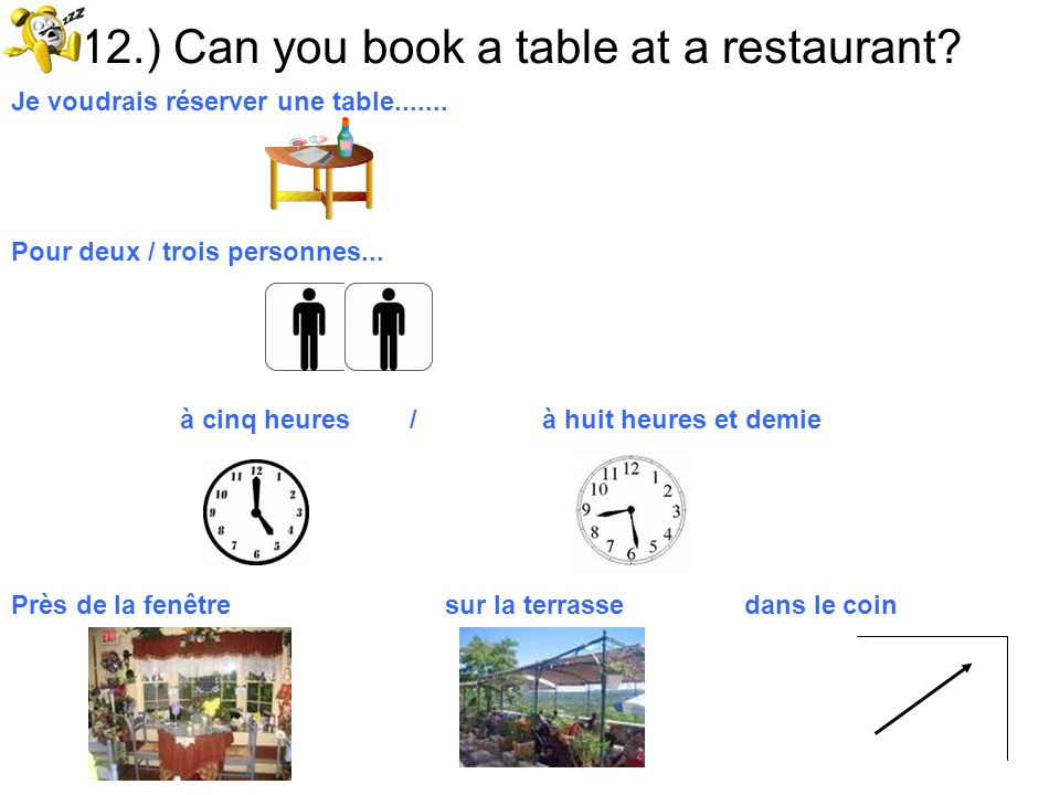 12.) Can you book a table at a restaurant