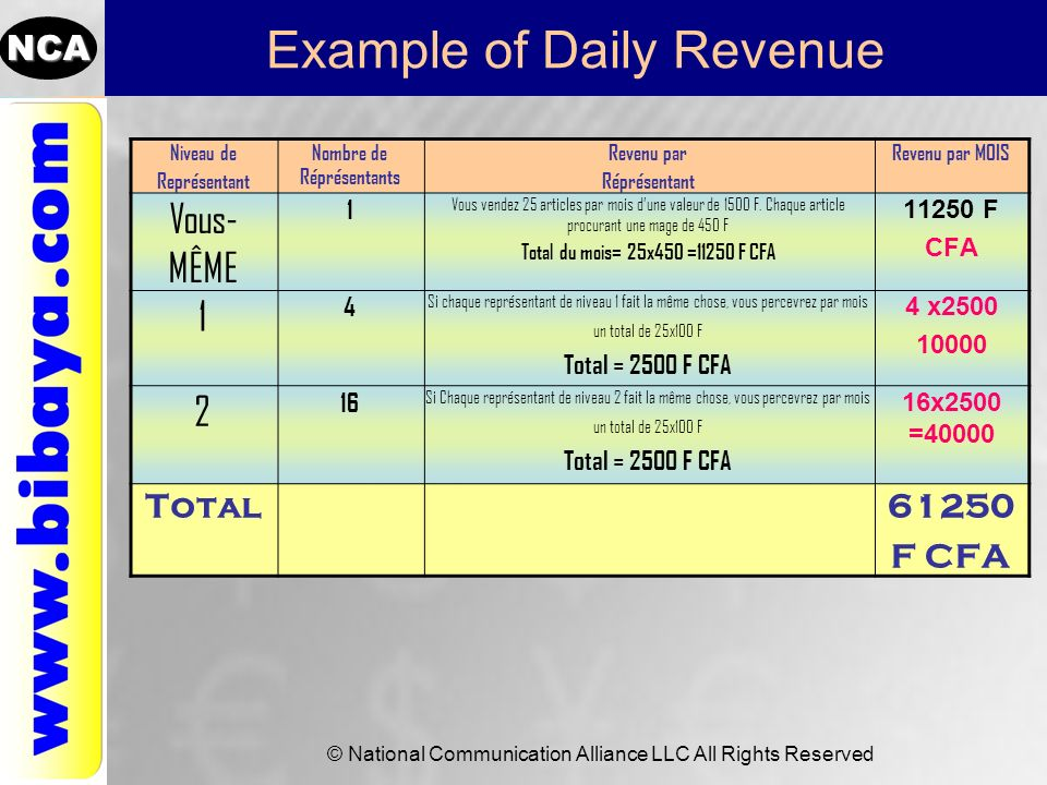 Example of Daily Revenue
