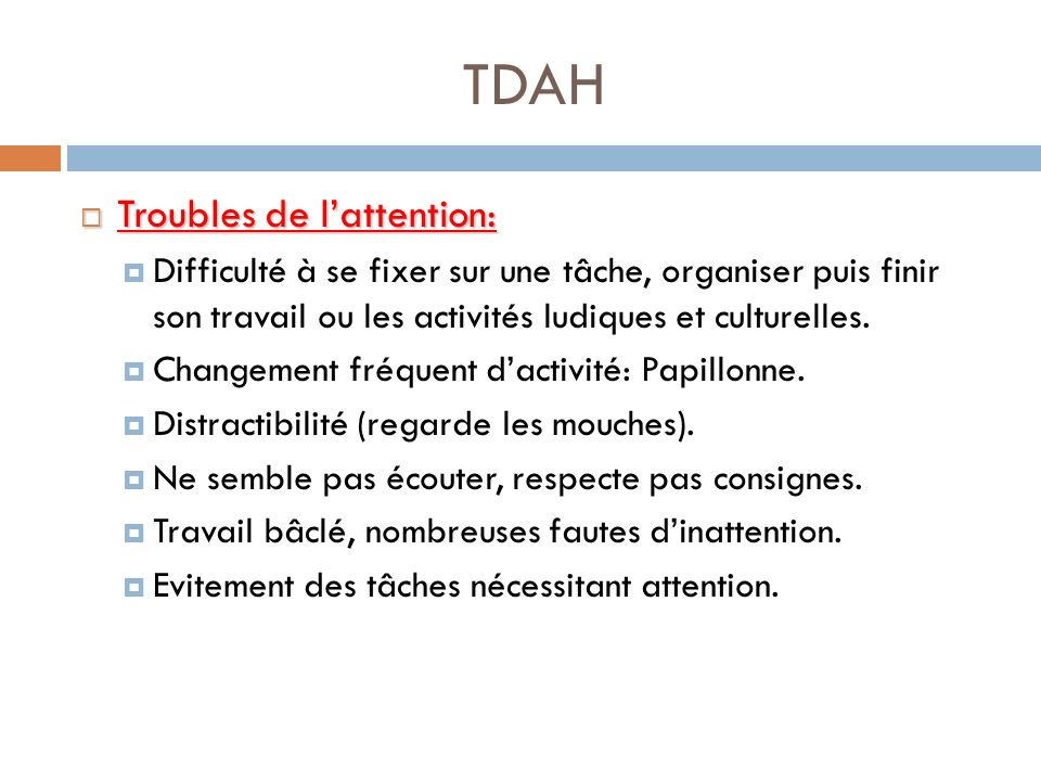 TDAH Troubles de l'attention: