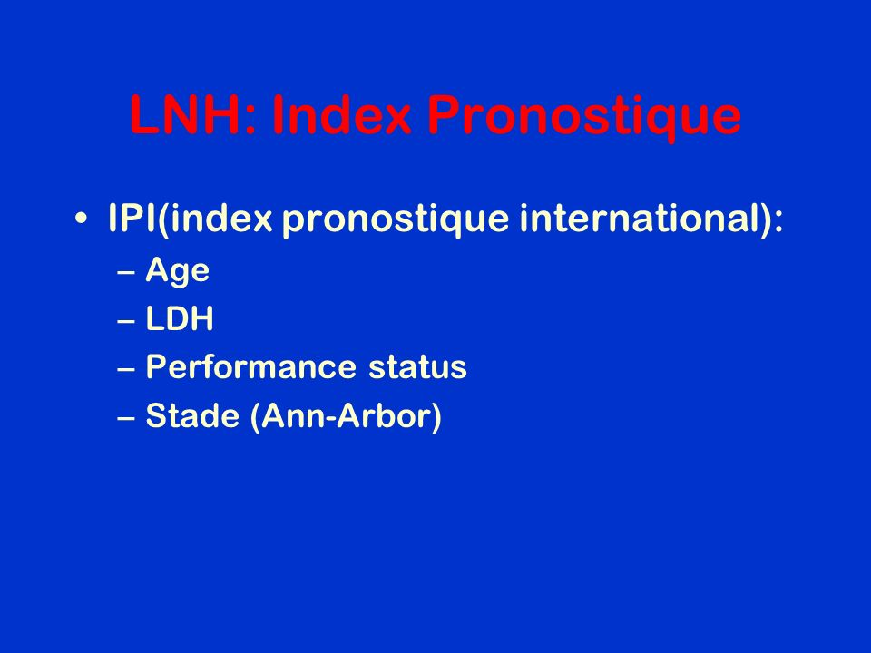 LNH: Index Pronostique