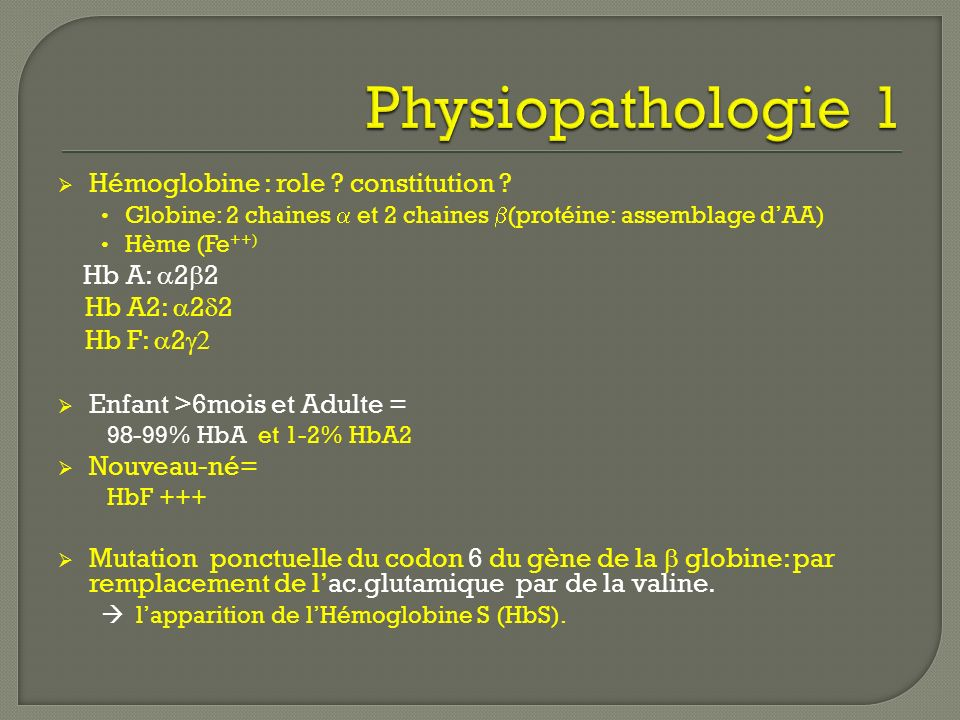 Physiopathologie 1 Hémoglobine : role constitution Hb A2: 22