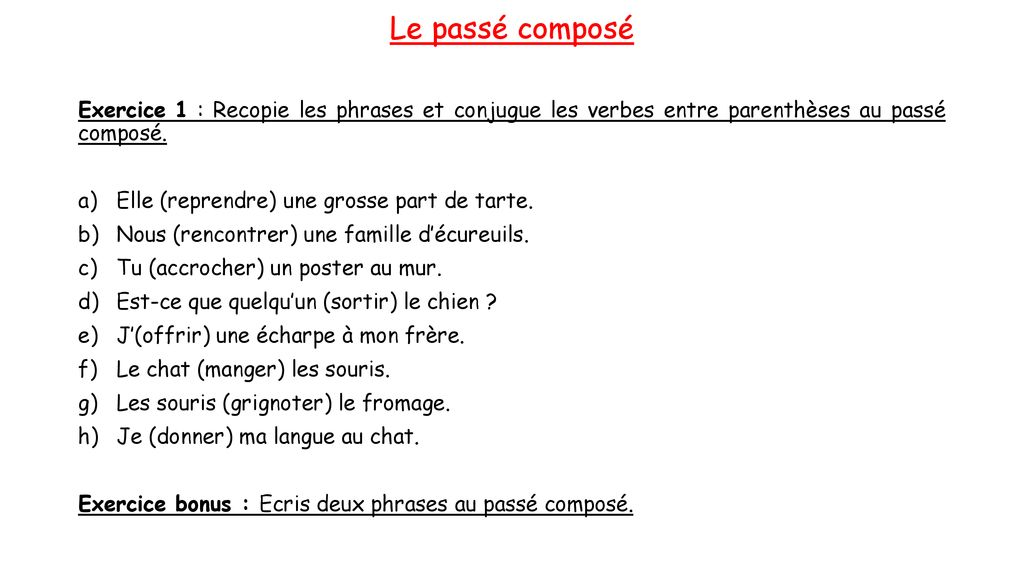 Sequence 4 Le Passe Compose Ppt Telecharger