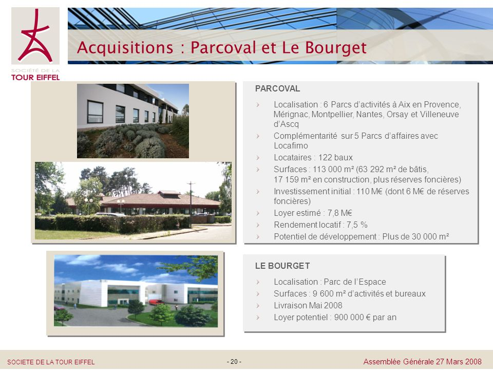 Acquisitions : Parcoval et Le Bourget