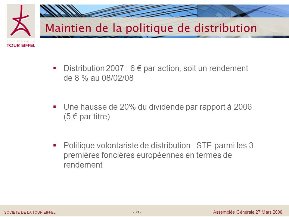 Maintien de la politique de distribution