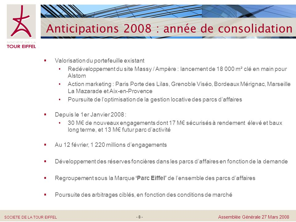 Anticipations 2008 : année de consolidation