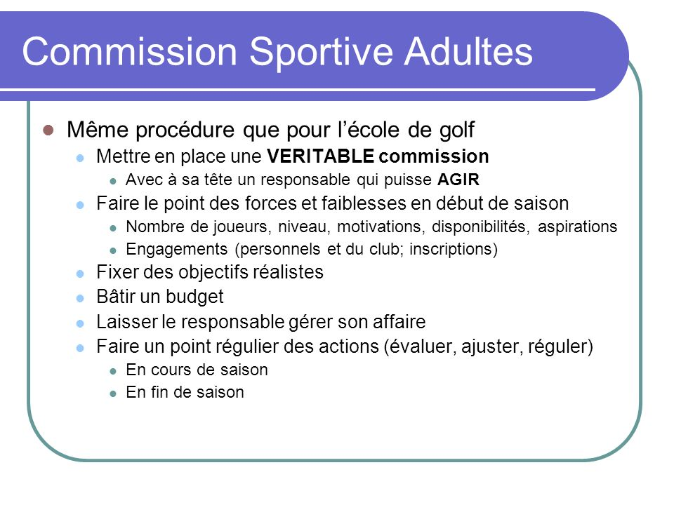 Commission Sportive Adultes