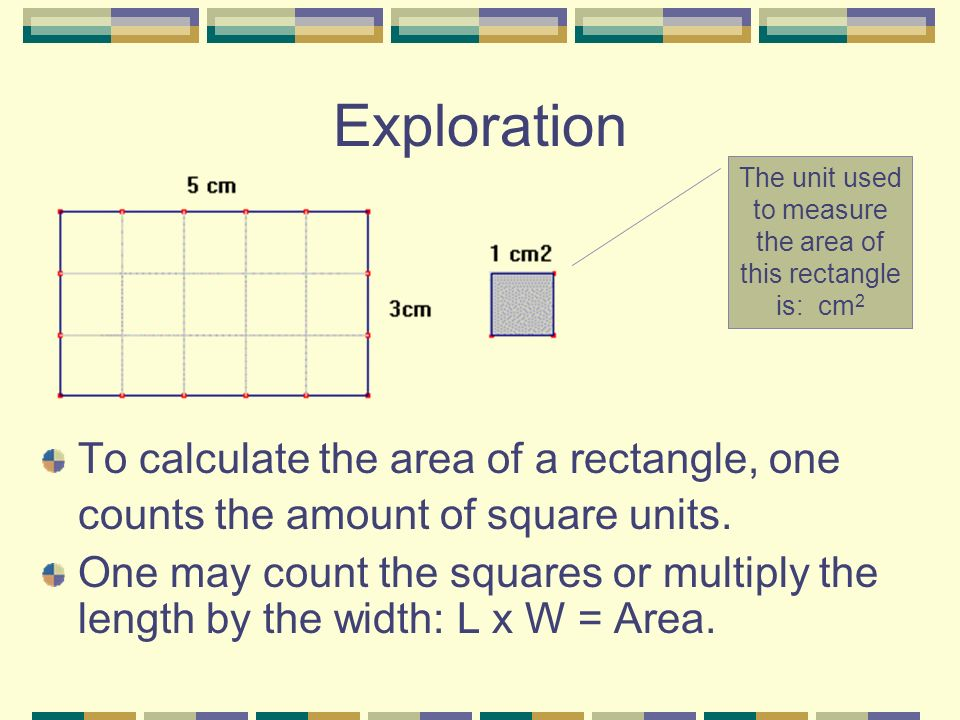 The unit used to measure the area of this rectangle is: cm2