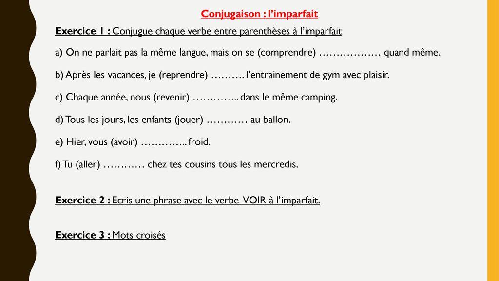 Sequence 3 Conjugaison L Imparfait Ppt Telecharger