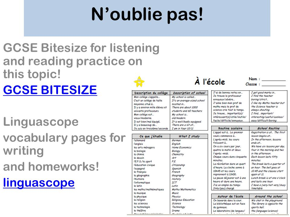 N'oublie pas! GCSE Bitesize for listening and reading practice on this topic! GCSE BITESIZE. Linguascope.