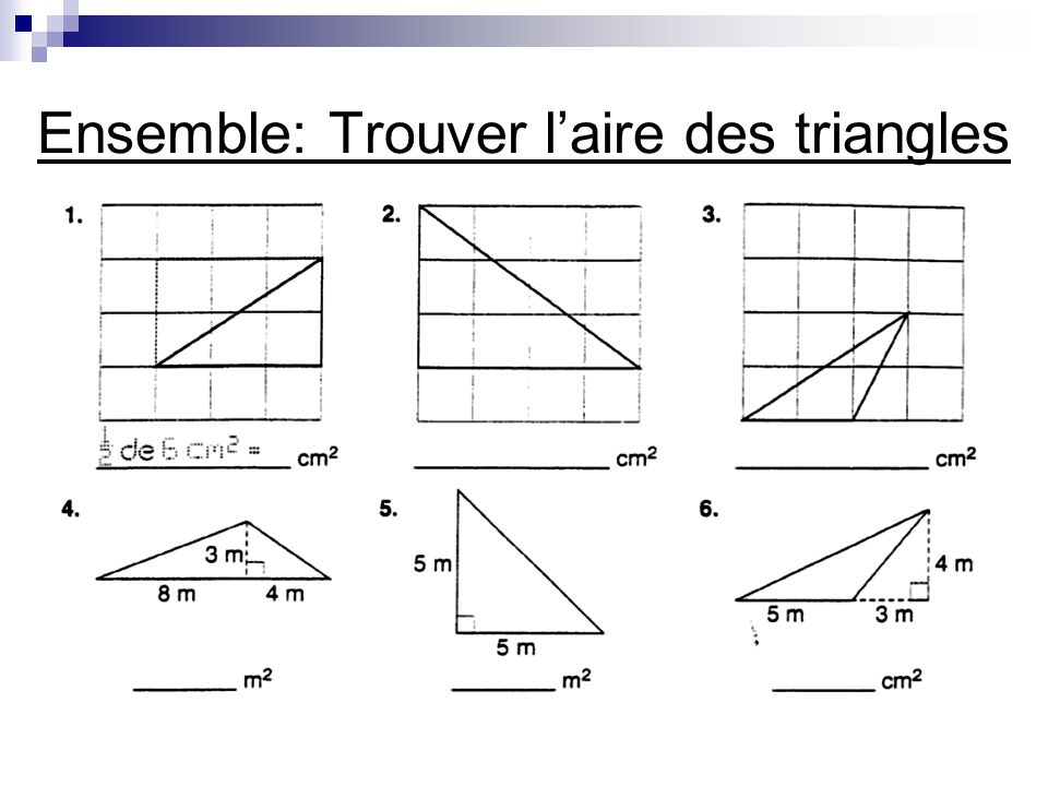 Ensemble: Trouver l'aire des triangles