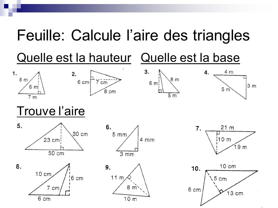 Feuille: Calcule l'aire des triangles