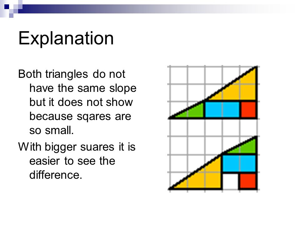 Explanation Both triangles do not have the same slope but it does not show because sqares are so small.