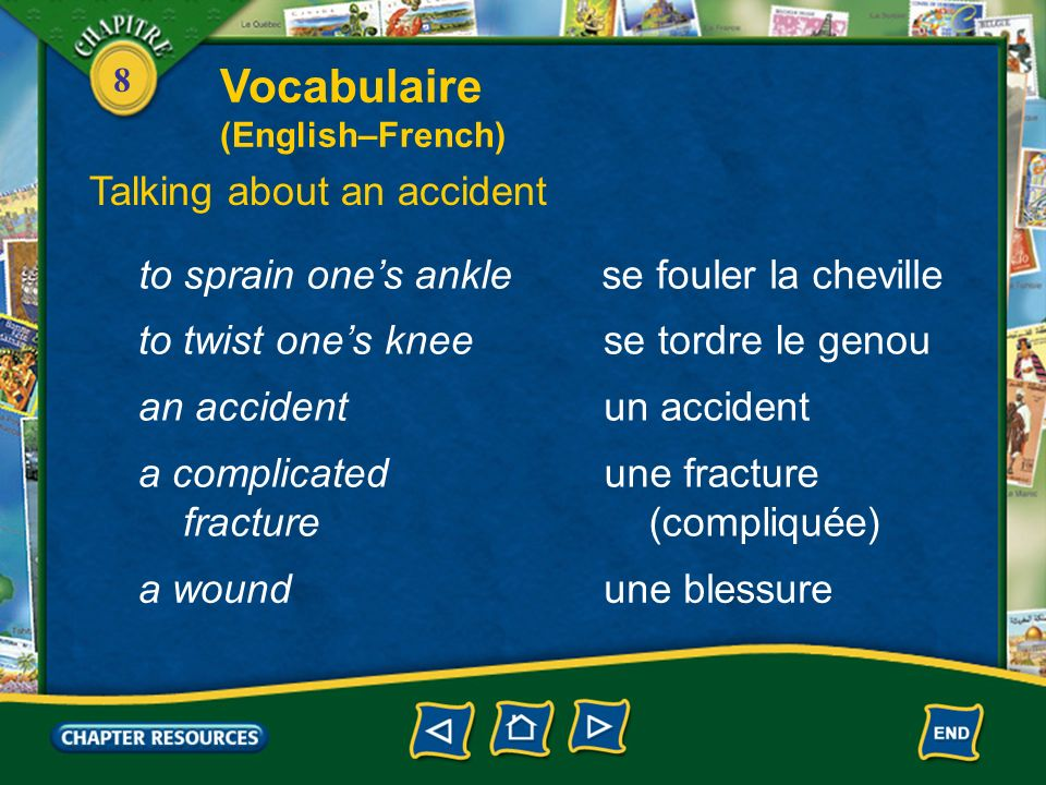 Vocabulaire Talking about an accident to sprain one's ankle