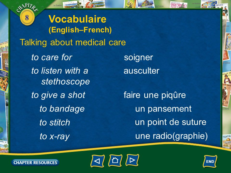 Vocabulaire Talking about medical care to care for soigner