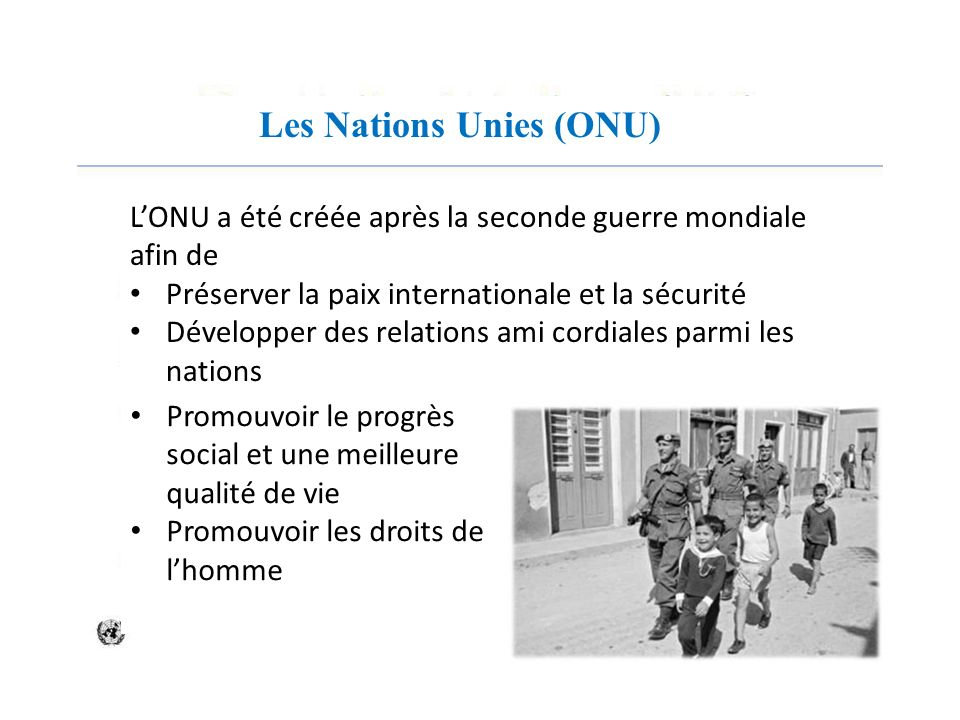 Les Nations Unies (ONU)