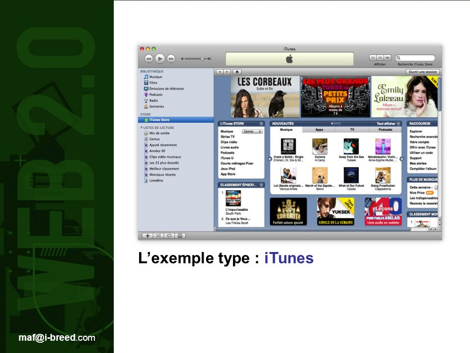 L'exemple type : iTunes