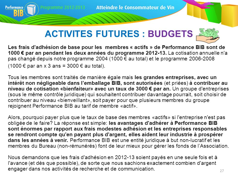 ACTIVITES FUTURES : BUDGETS