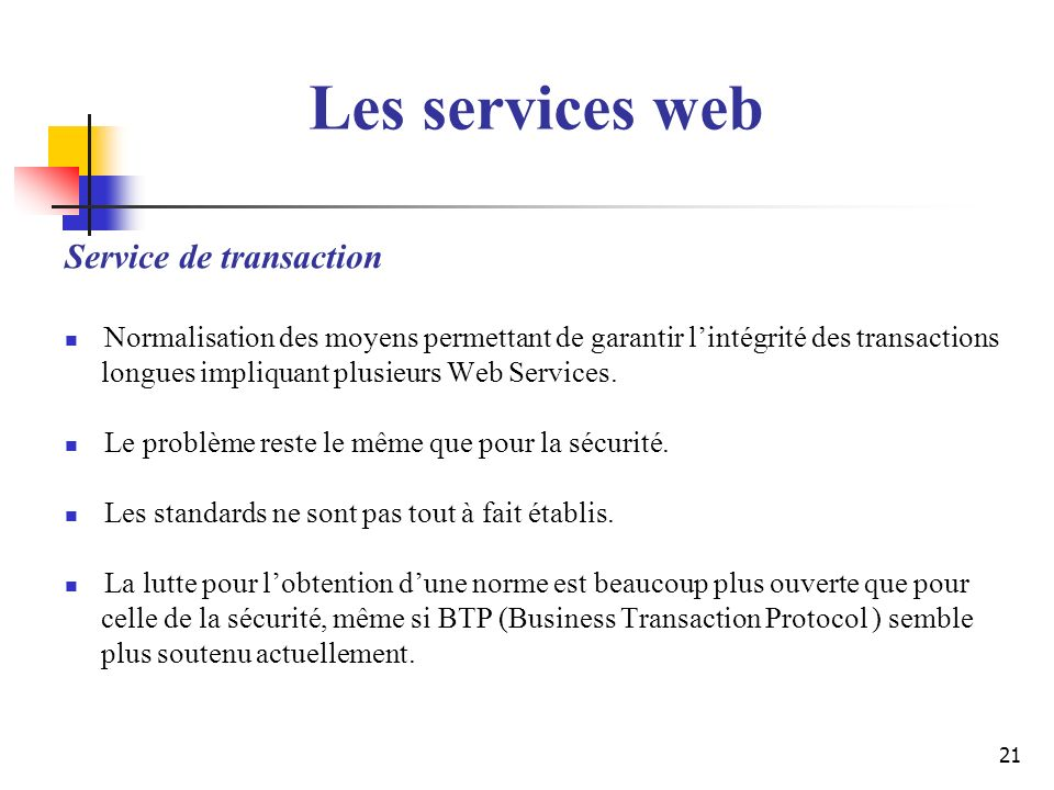 Les services web Service de transaction
