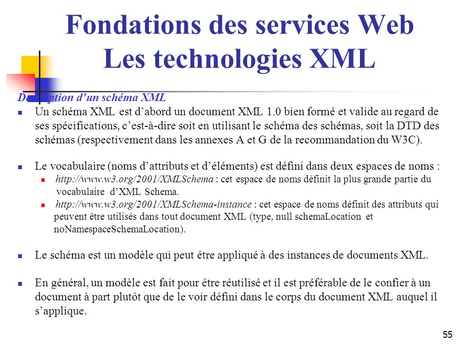 Fondations des services Web Les technologies XML