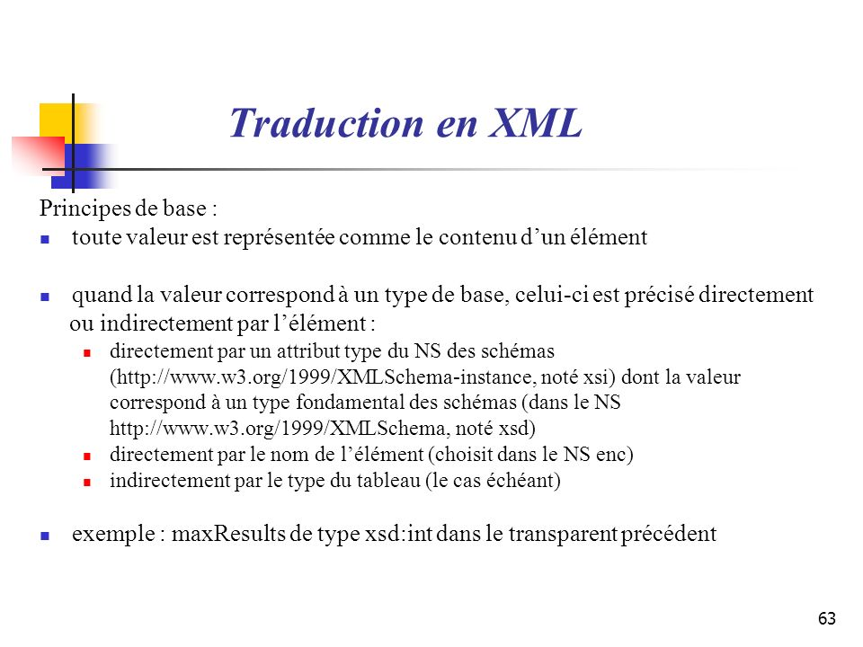 Traduction en XML Principes de base :