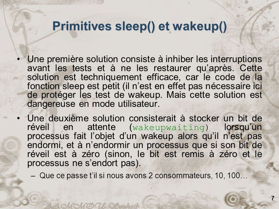 Primitives sleep() et wakeup()
