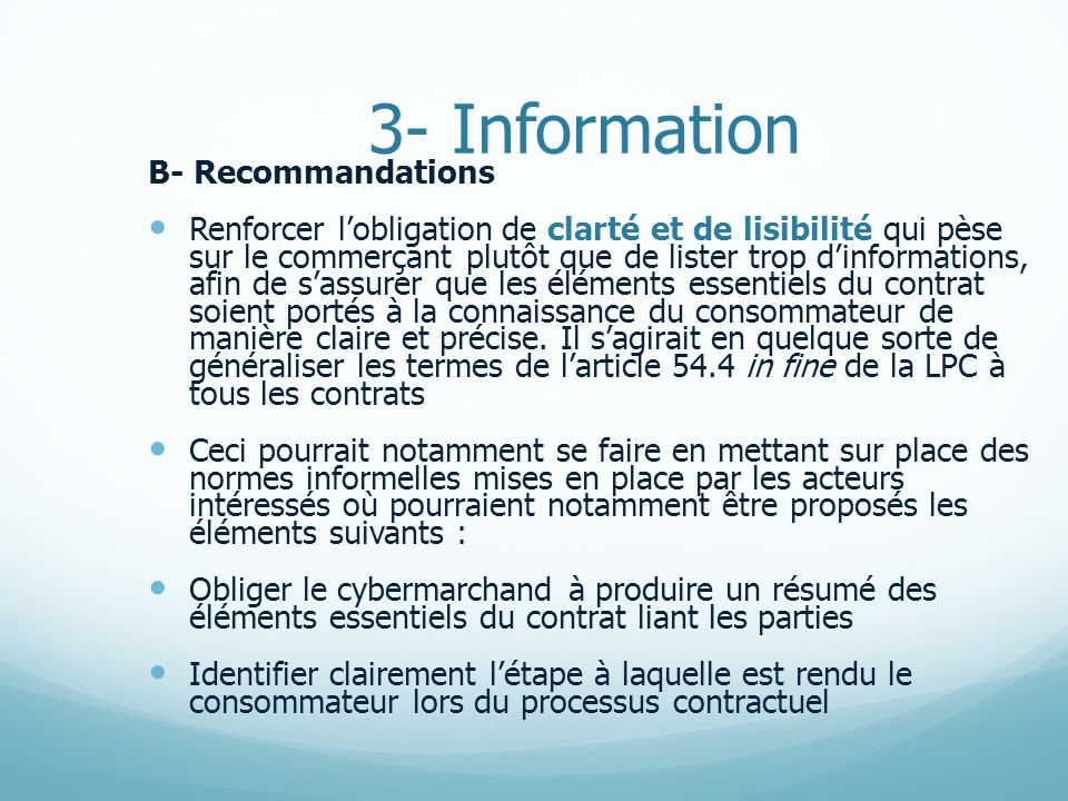 3- Information B- Recommandations