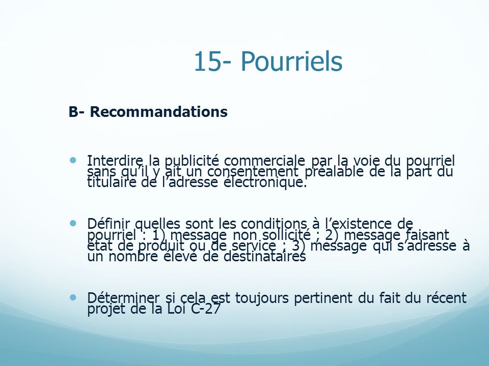 15- Pourriels B- Recommandations