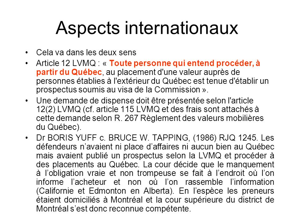 Aspects internationaux