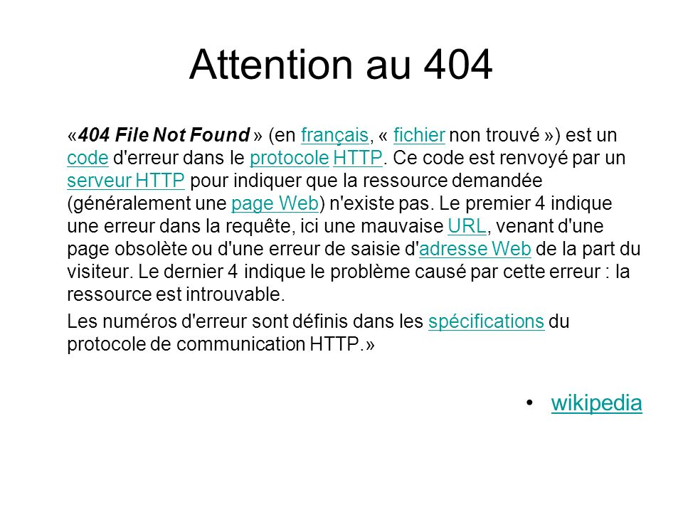Attention au 404 wikipedia